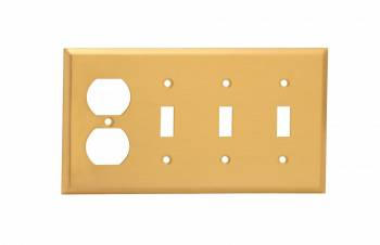 Switch Plate Brushed Brass Triple Toggle Outlet