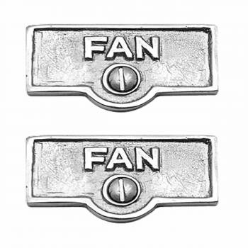 2 Switch Plate Tags FAN Name Signs Labels Chrome Brass