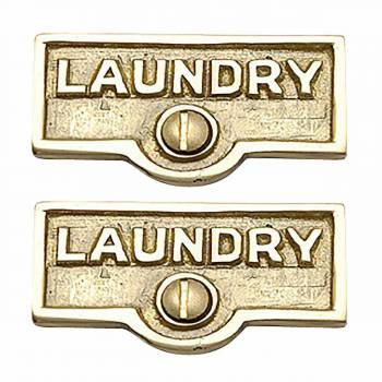 2 Switch Plate Tags LAUNDRY Name Signs Labels Lacquered Brass