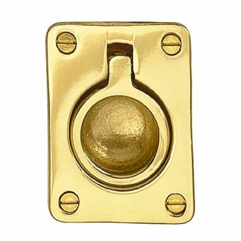 Cabinet Pull Bright Solid Brass Ring