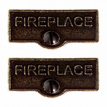 2 Solid Antique Brass Switchplate Fireplace Label Decorative