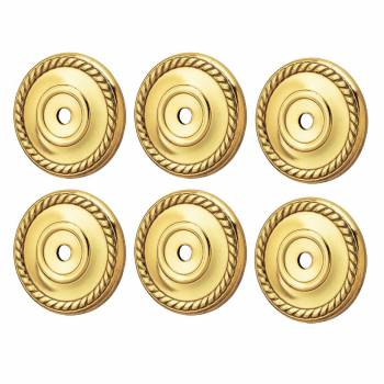 6 Cabinet Knob Rosette Bright Solid Brass Roped 1