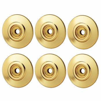 6 Cabinet Knob Rosettes Bright Solid Brass 1 14