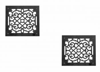 2 Air Grilles Black Cast Aluminum Rustproof Set of 2