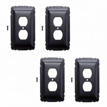 4 Switchplate Black Steel Outlet RSF
