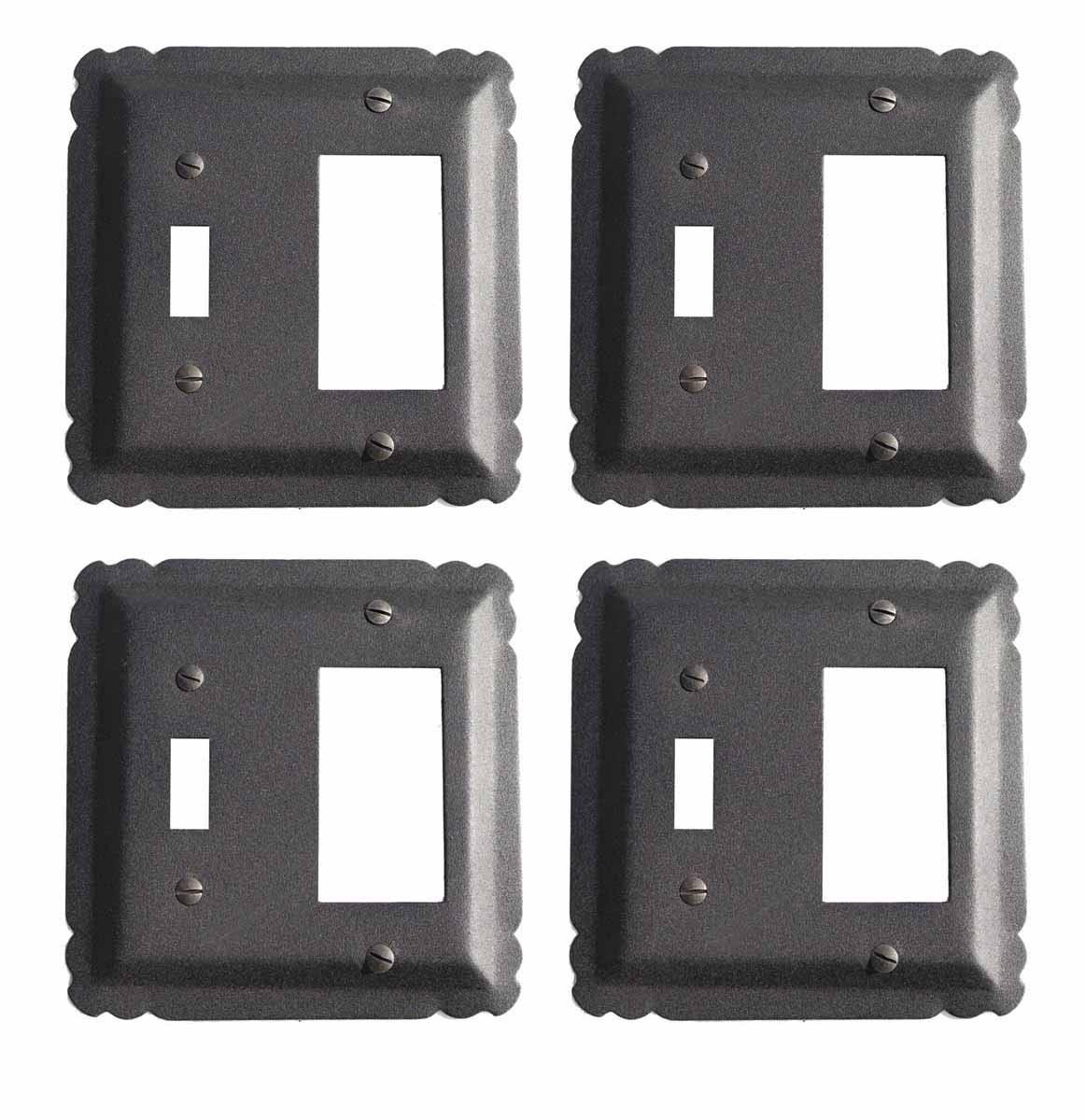 4 Switchplate Black Wrought Iron GFI/Toggle 5 1/4 | Renovators Supply