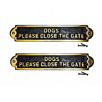 2 Garden Signs Brass Please Close the Gate Set of 2