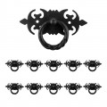 10 Ring Pull Cabinet Drawer Door Wrought Iron Black 3 1/2