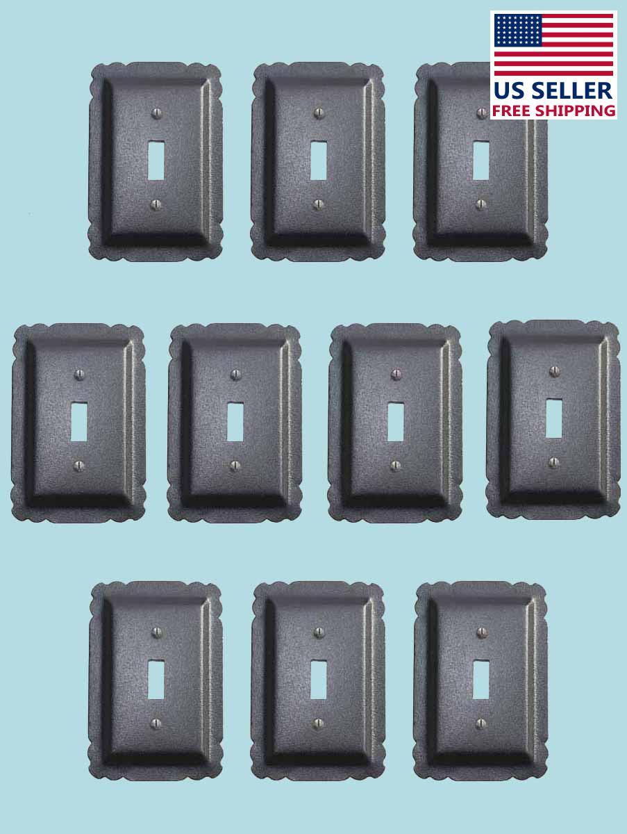 10 Switchplate Black Steel Single Toggle    Renovators Supply 2