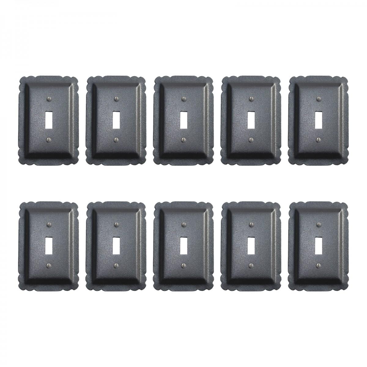 10 Switchplate Black Steel Single Toggle    Renovators Supply