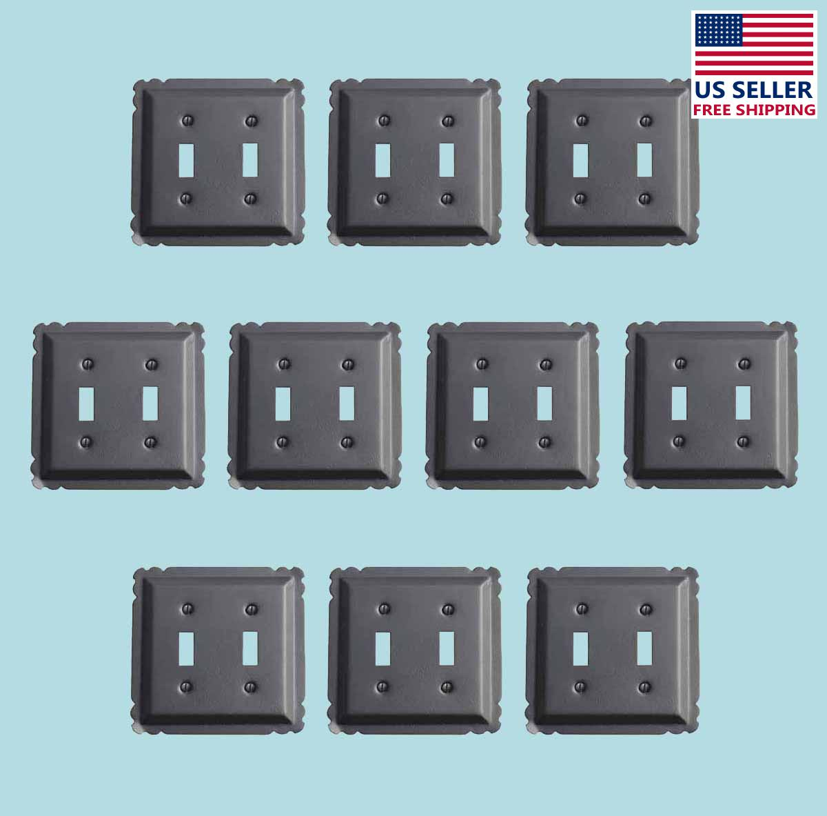 10 Switchplate Black Steel Double Toggle | Renovators Supply 2