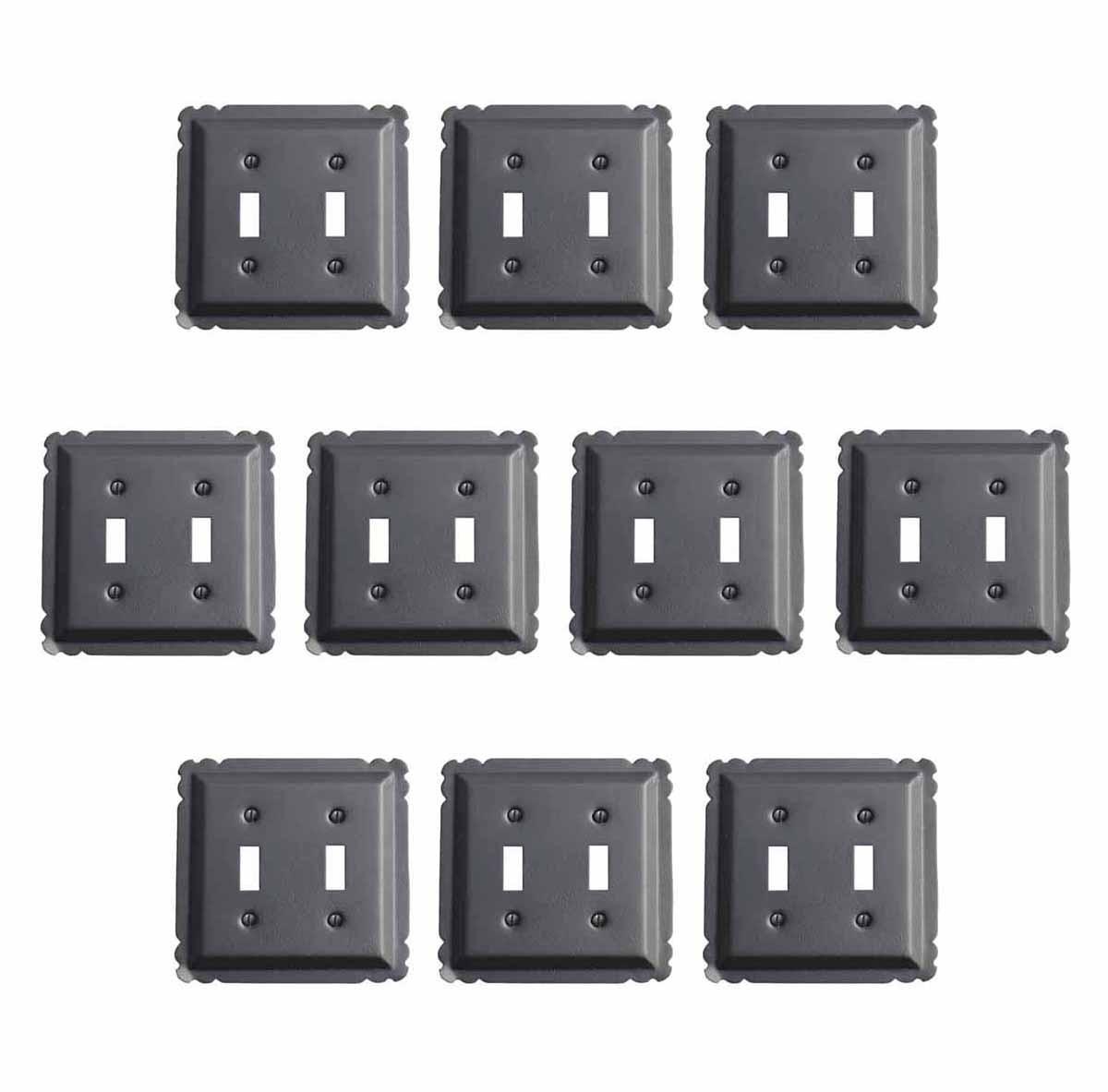 10 Switchplate Black Steel Double Toggle | Renovators Supply