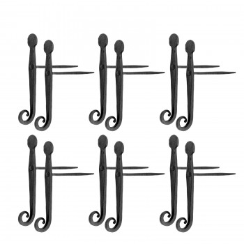 6 Shutter Dog Black Iron Pair Rat Tail for Masonry