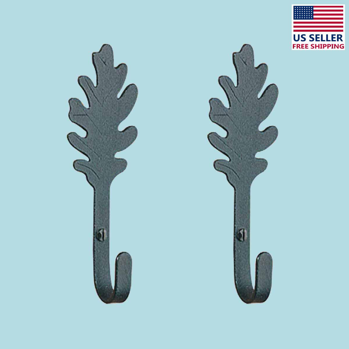 2 Kitchen Hook Wrought Iron Leaf Shape Black  | Renovators Supply 2