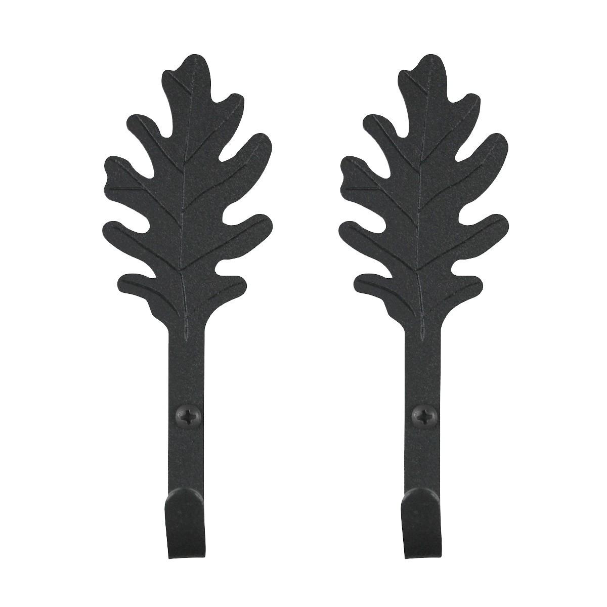 2 Kitchen Hook Wrought Iron Leaf Shape Black  | Renovators Supply