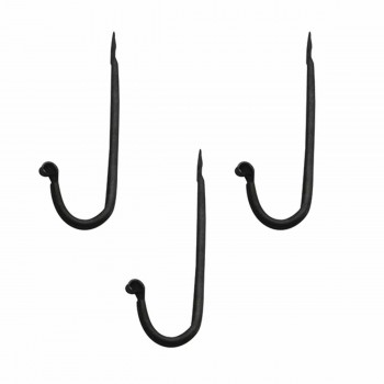 3 Coat Hooks Black Wrought Iron Rustproof Set of 3