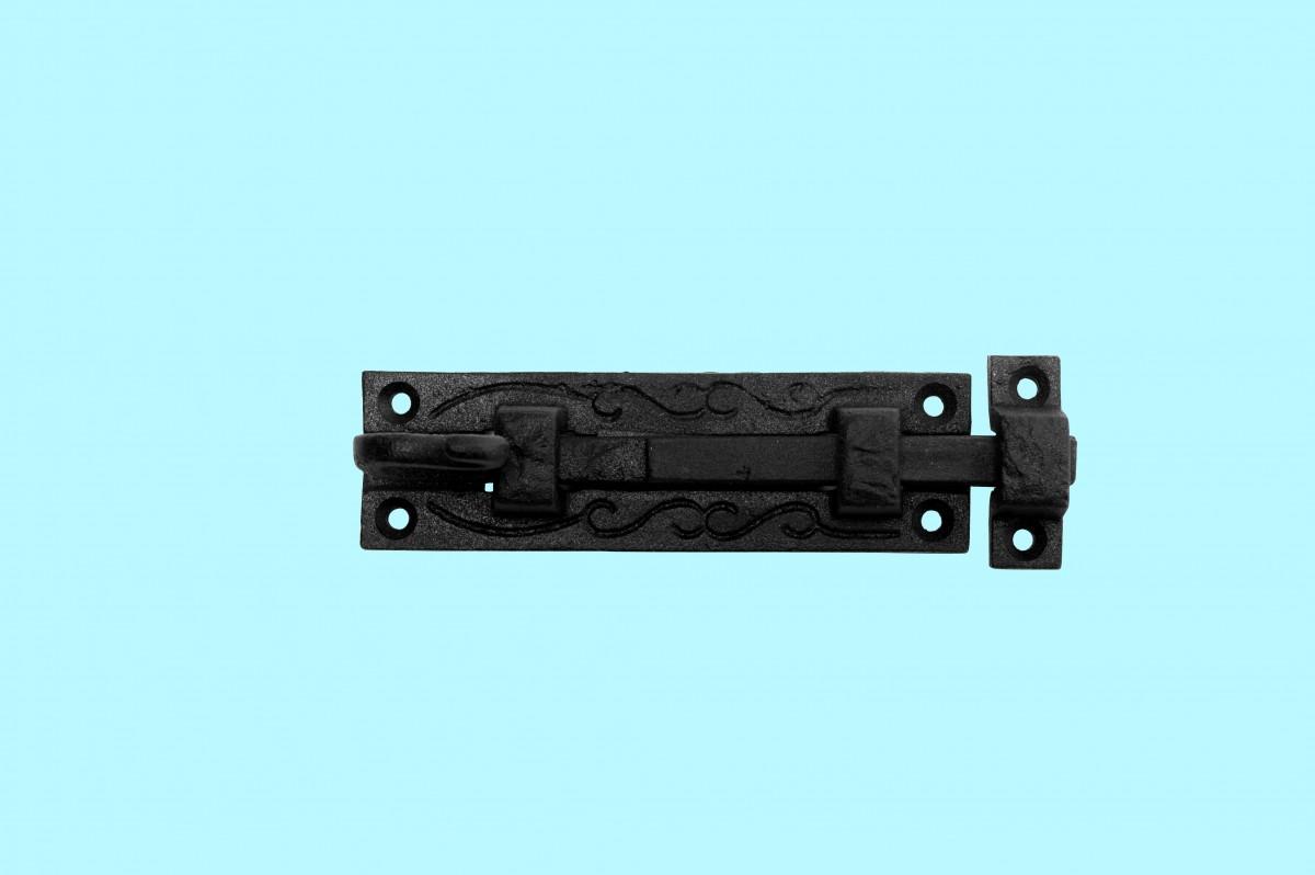 10 Black Wrought Iron Cabinet or Door Fancy Slide Bolt 4 3/4 | Renovators Supply 4