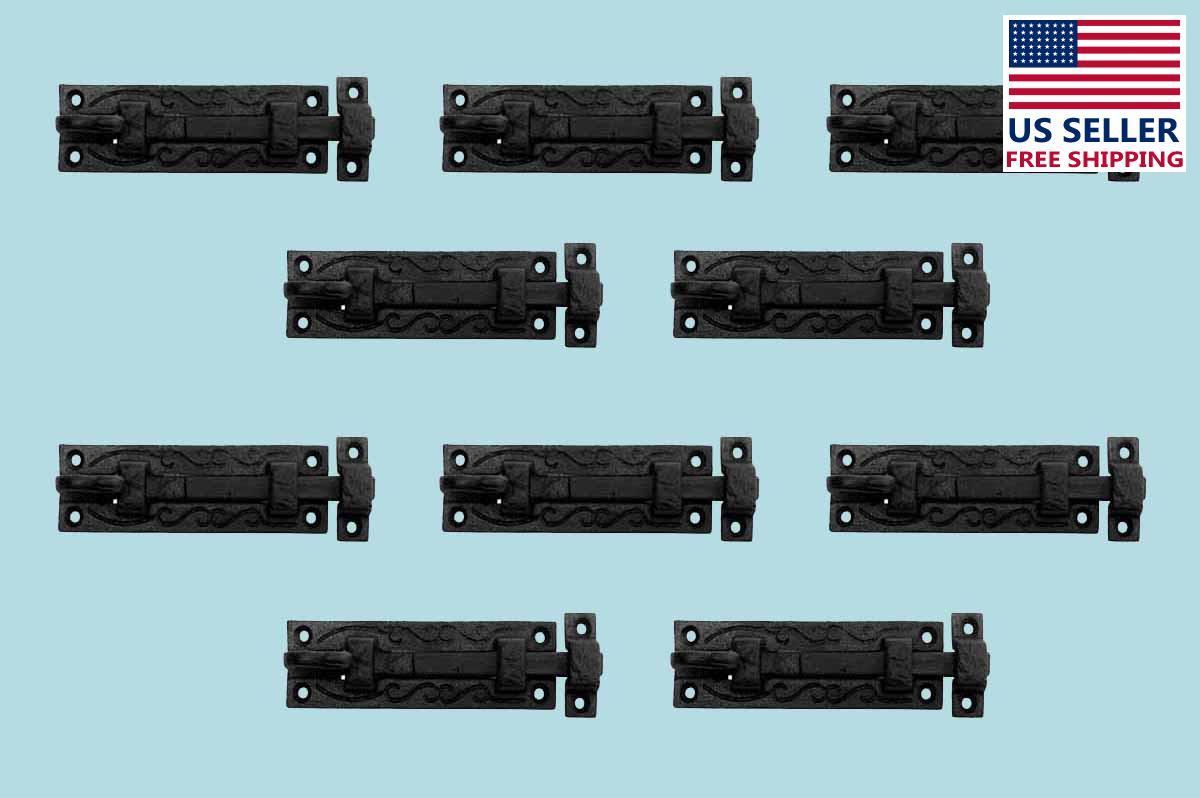 10 Black Wrought Iron Cabinet or Door Fancy Slide Bolt 4 3/4 | Renovators Supply 2