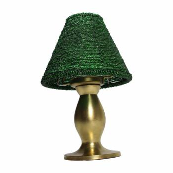 Candle Lamp Brushed Brass Base Green Beaded Shade