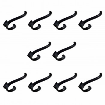 10 Hook Wrought Iron Black 4 Double