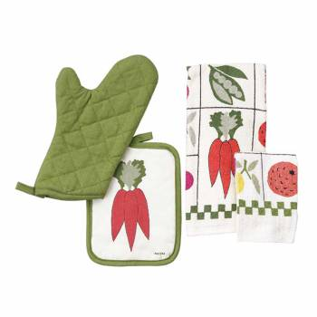 Set Cotton Kitchen Hand Towels White Green Vegetable Print