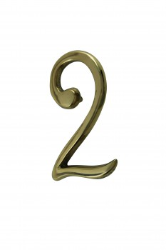 Bright Solid Brass 3 Address House Number 2 Pin Mount