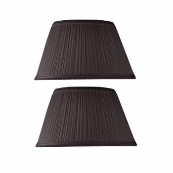 2 Black Fabric Lamp Shade Drum 7 Top x 12 Bottom Pair