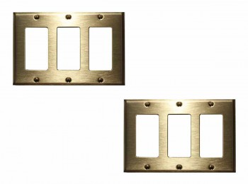 2 Switchplate Brushed Solid Brass Triple GFI