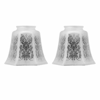 2 Lamp Shades Frosted Glass Tulip Shade 4 18H