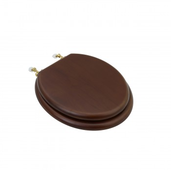 Toilet Seat Round Solid Wood Dark Oak Brass Hinge