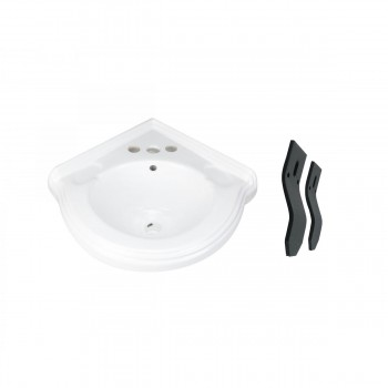 Corner Sink Wall Mount Centerset White China Bathroom Sink