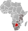 Map of Africa with Botswana marked in red