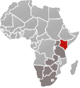 Map of Africa with Kenya marked in red