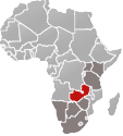 Map of Africa with Zambia marked in red