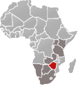Map of Africa with Zimbabwe marked in red