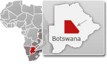 Map of Botswana with a highlight of Central Kalahari Game Reserve