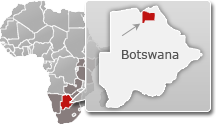 Map of Botswana with a highlight of Chobe National Park