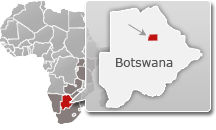 Map of Botswana with a highlight of Makgadikgadi Pans National Park