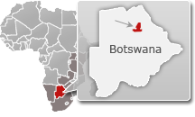 Map of Botswana with a highlight of Nxai Pan National Park