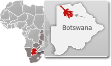Map of Botswana with a highlight of Okavango Delta