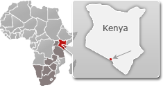 Map of Kenya with a highlight of Amboseli National Park