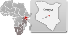Map of Kenya with a highlight of Meru National Park