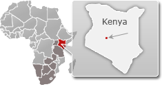 Map of Kenya with a highlight of Ol Pejeta Conservancy