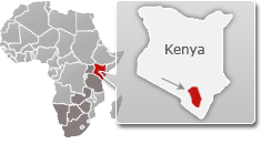 Map of Kenya with a highlight of Tsavo East National Park