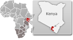Map of Kenya with a highlight of Tsavo West National Park