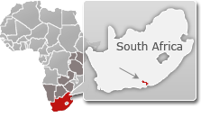 Map of South Africa with a highlight of Addo Elephant National Park