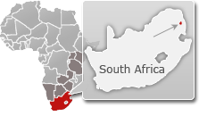 Map of South Africa with a highlight of Timbavati Nature Reserve