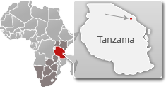 Map of Tanzania with a highlight of Arusha National Park