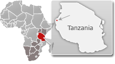 Map of Tanzania with a highlight of Gombe National Park