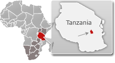 Map of Tanzania with a highlight of Mikumi National Park